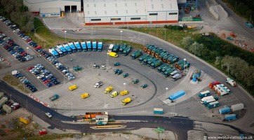 bin lorries at Lamby Way  Recycling Centre Cardiff aerial photograph