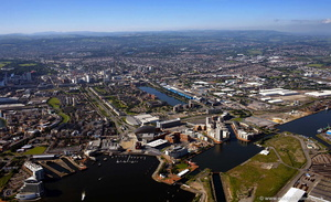Cardiff Bay Wales aerial photograph