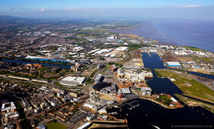 Cardiff Docks Wales aerial photograph