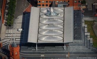 the Senedd Cardiff - Welsh  National Assembly building aerial photograph