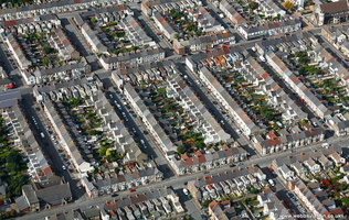 Splott terraced housing in Cardiff Wales aerial photograph