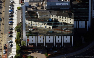 reflections in the mirror finish of  Helmont House Cardiffaerial photograph