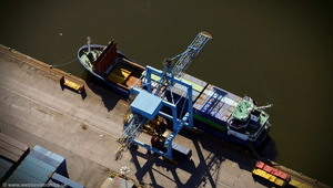 small container ship unloading at the Port of Cardiff aerial photograph