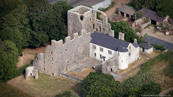 Oxwich Castle from the air