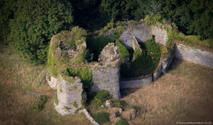the keep at Penrice Castle from the air