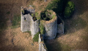 the  great tower at Penrice Castle from the air