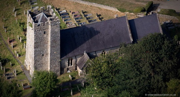 St Rhidian and St Illtyd medieval church in  Llanrhidian from the air