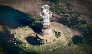 Whiteford Lighthouse on the Gower Peninsular   from the air