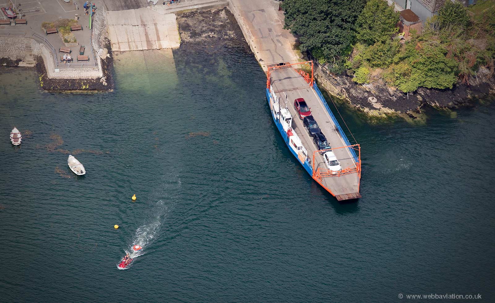The Bodinnick to Fowey car ferry  aerial photo
