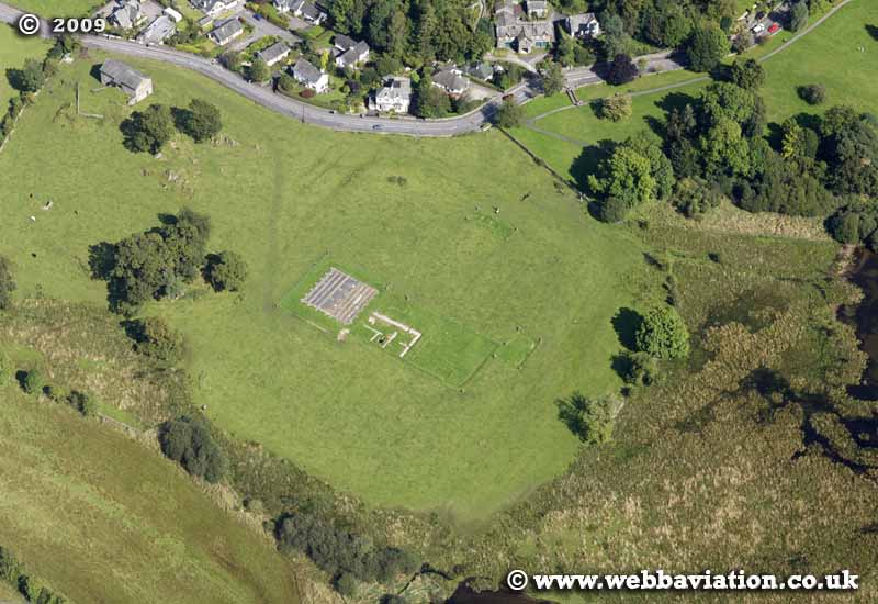 Galava Roman Fort in the Lake District Cumbria UK aerial photograph