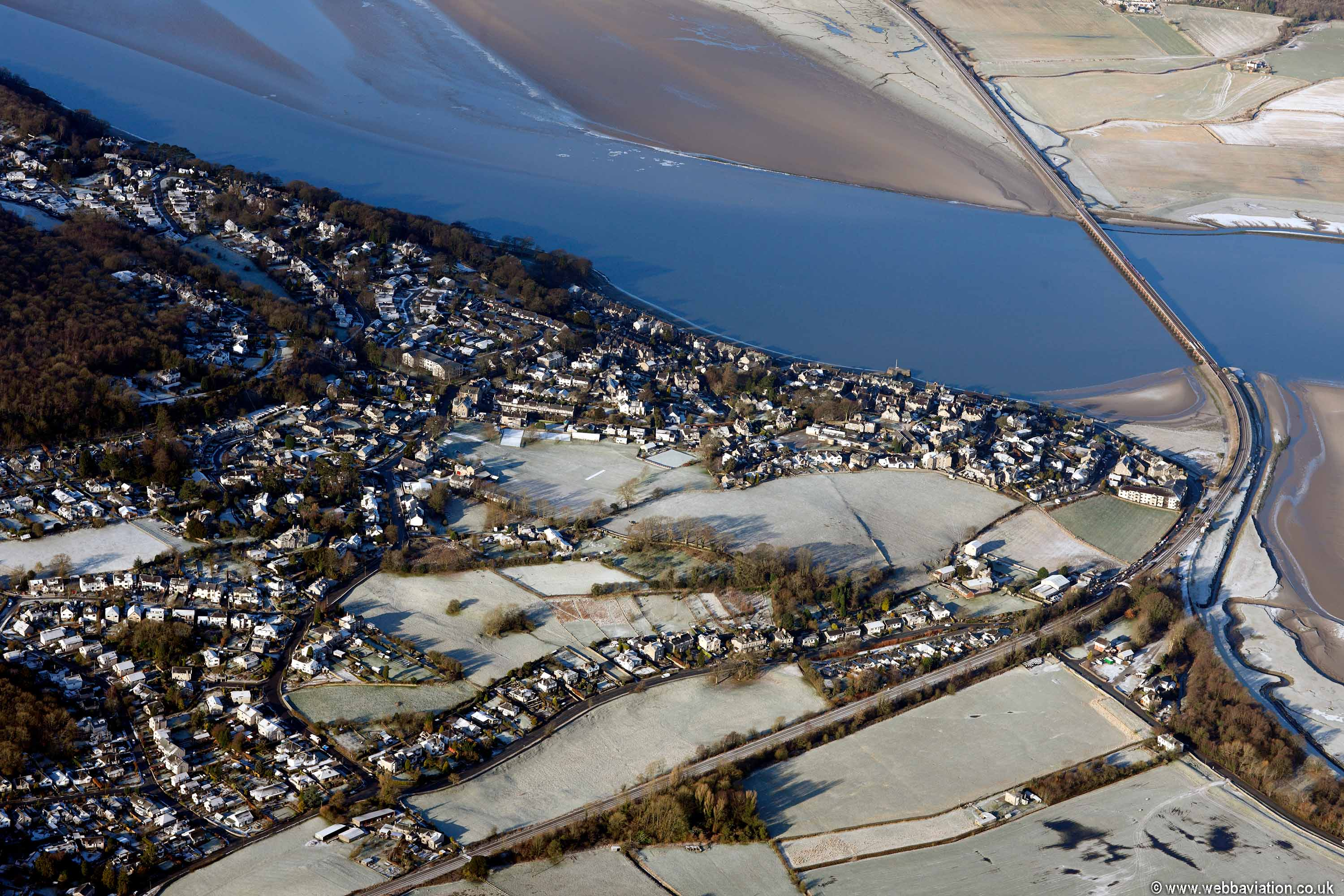 Arnside  in the Lake District Cumbria UK aerial photograph