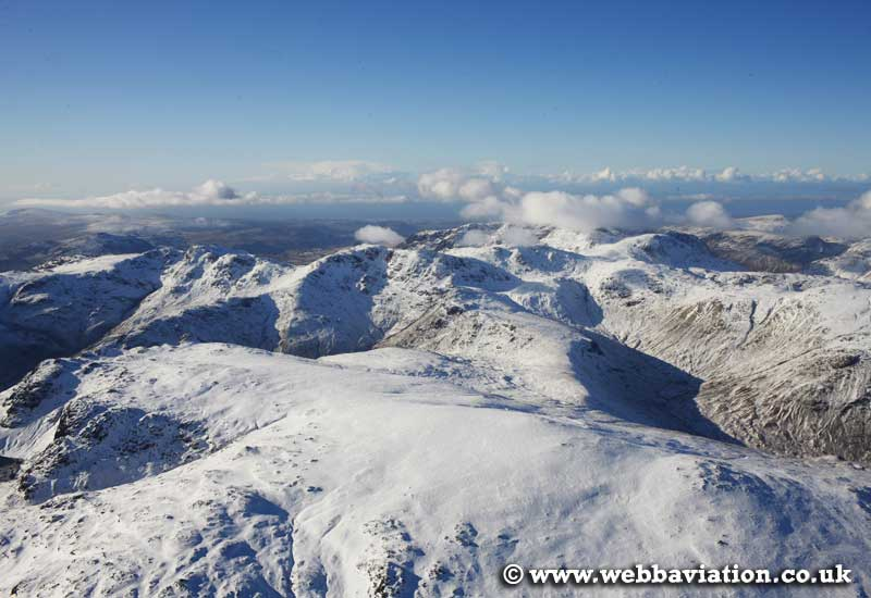 Borrowdale Fells in the Lake District Cumbria UK aerial photograph