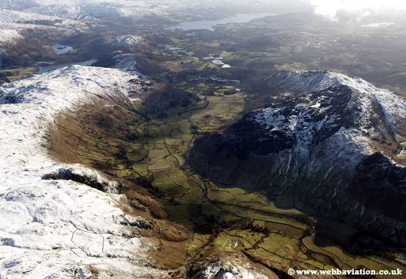 Langdale Valley in the Lake District Cumbria UK aerial photograph