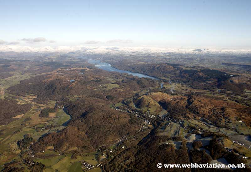 Newby Bridge in the Lake District Cumbria UK aerial photograph
