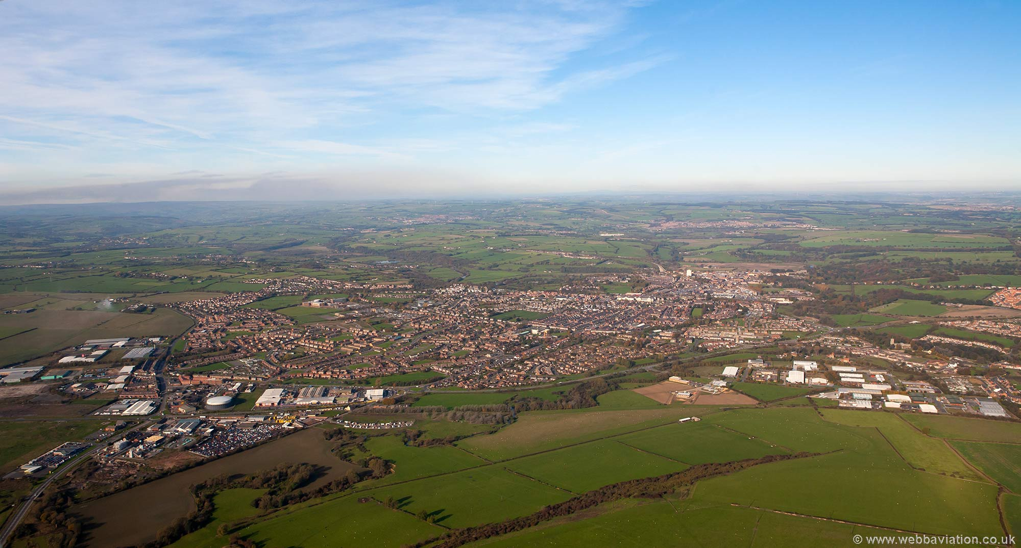 Bishops Auckland  Durham England UK aerial photograph