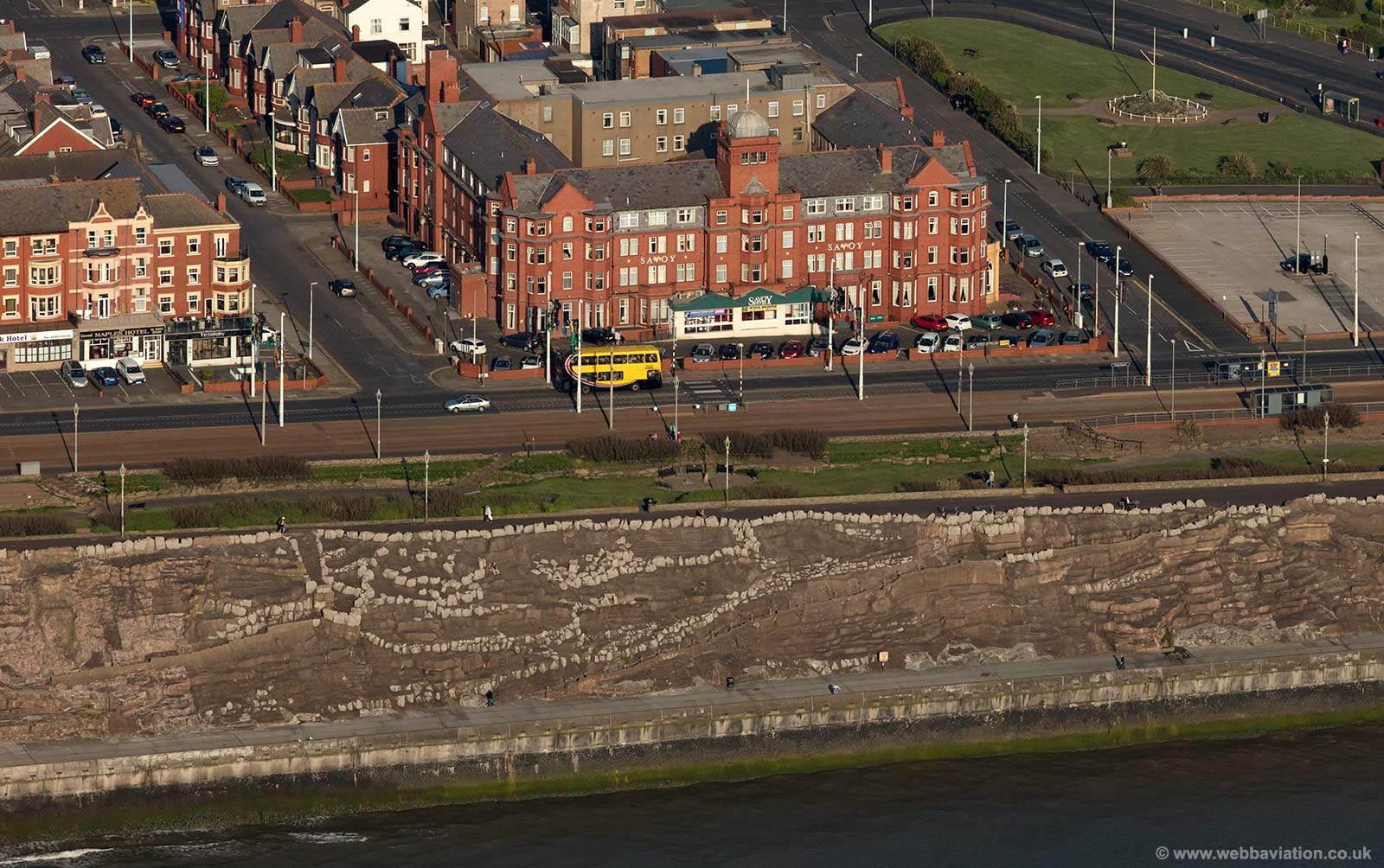 Savoy Hotel on the sea front at  Blackpool aerial photograph