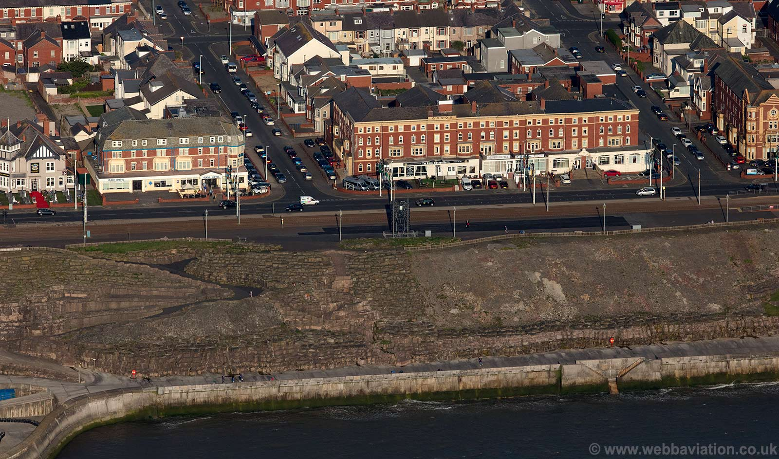 sea front hotels along the promenade at  Blackpoolbaerial photograph