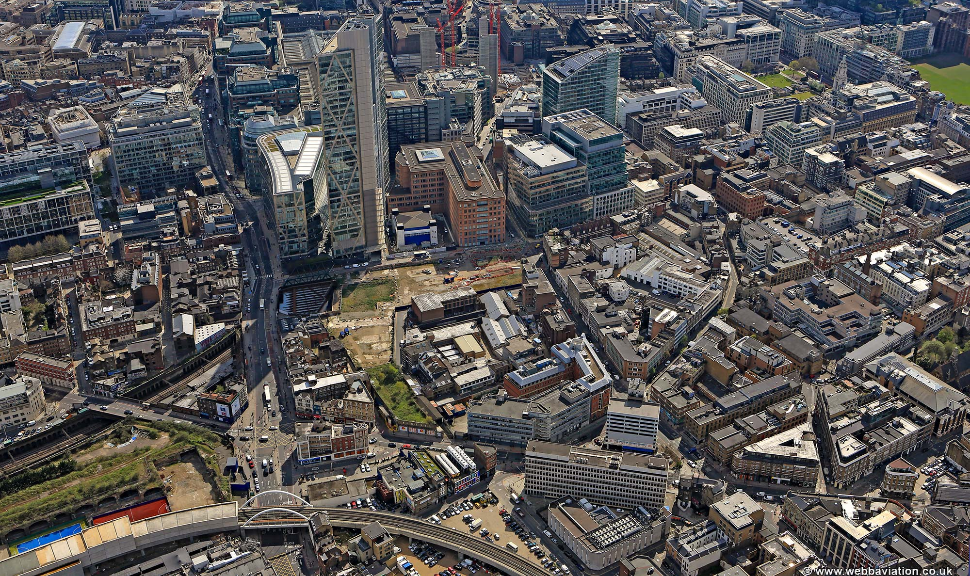 Broad Street Station Hackney London England UK aerial photograph