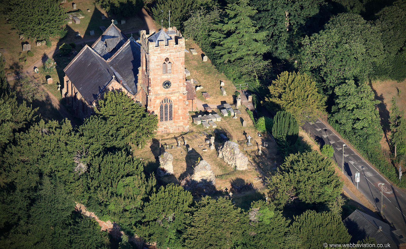 Ruyton-XI-Towns Castle & Church  from the air