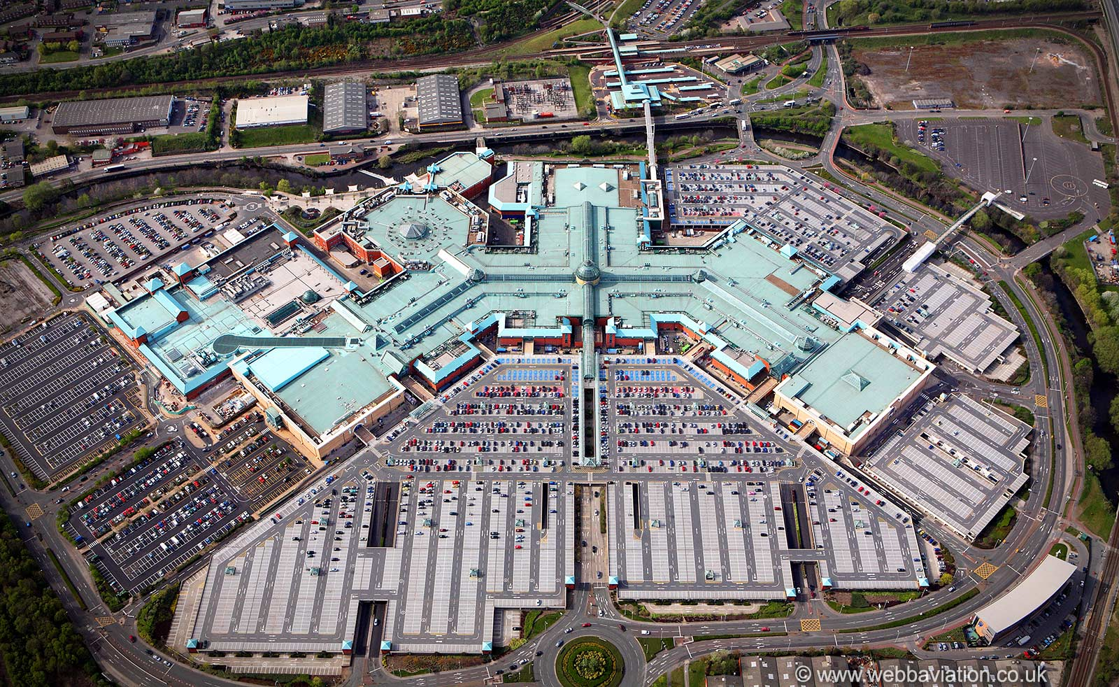 Meadowhall shopping centre Sheffield from the air