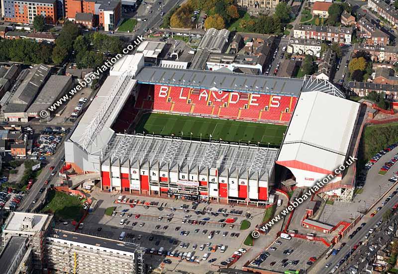 Bramall Lane football stadium Sheffield aerial photograph ...