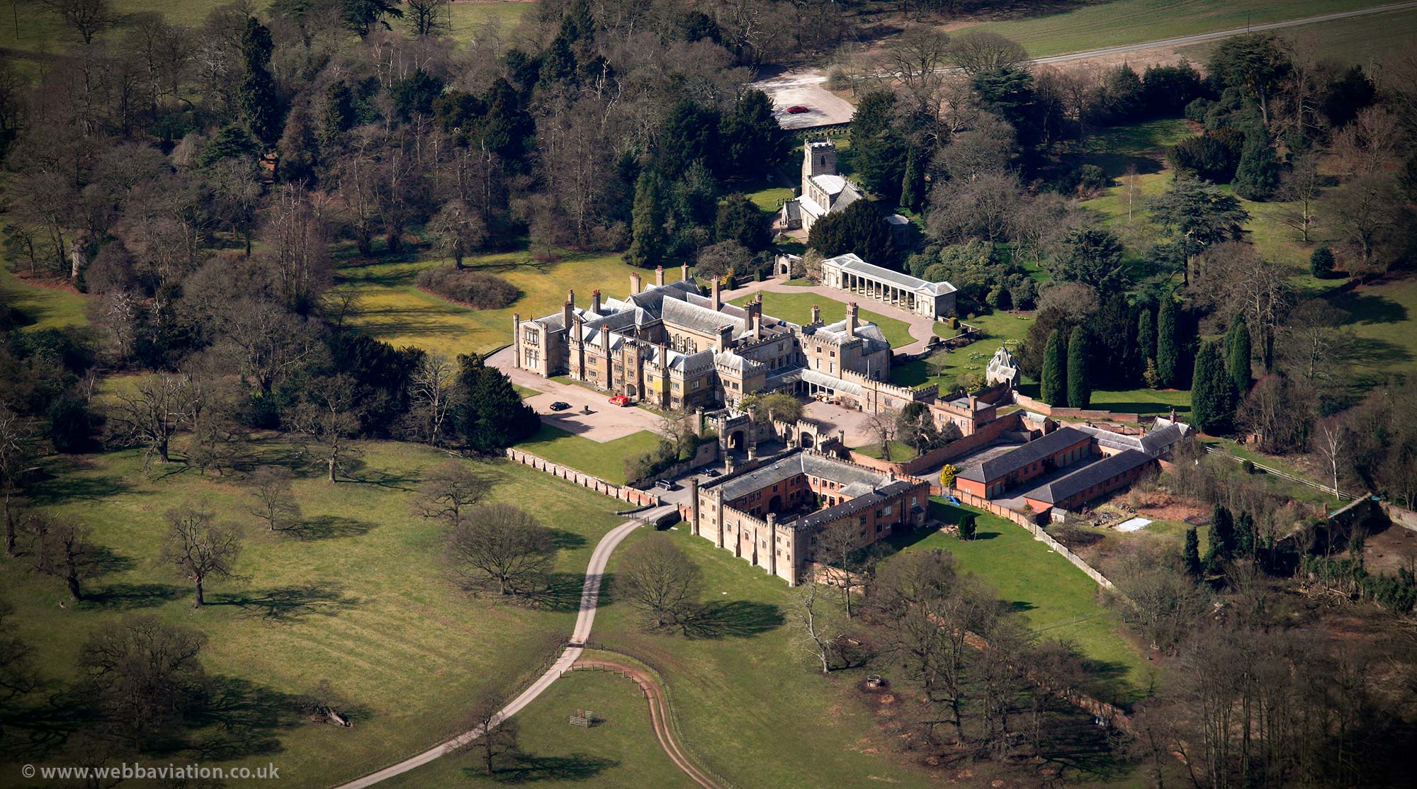 Blithfield Hall Staffordshire aerial photograph