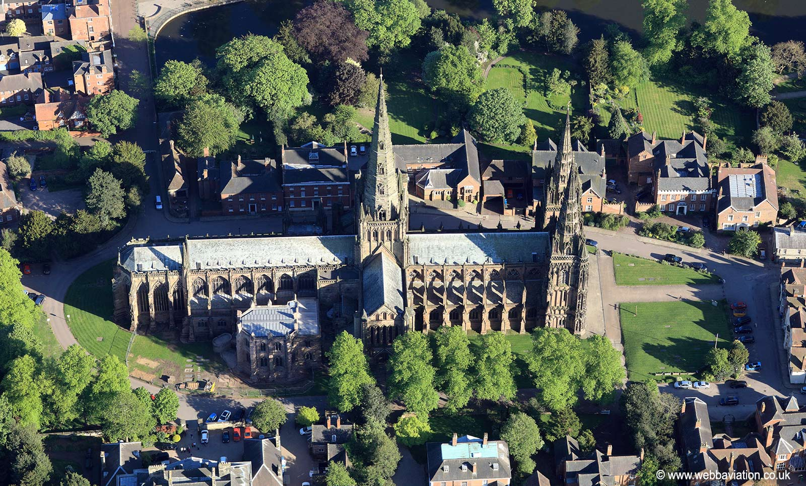 Lichfield Cathedral  from the air