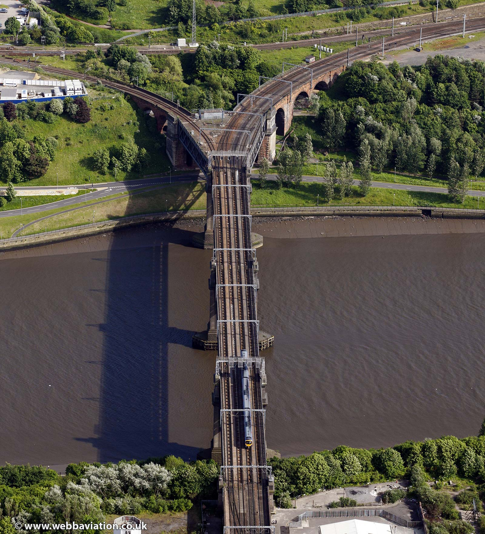 King Edward VII railway bridge over the River Tyne Newcastle upon TyneTyne and Wear aerial photograph