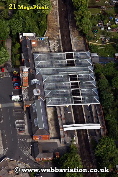 Whitley Bay Railway Station Whitley Bay North Tyneside Tyne and Wear aerial photograph