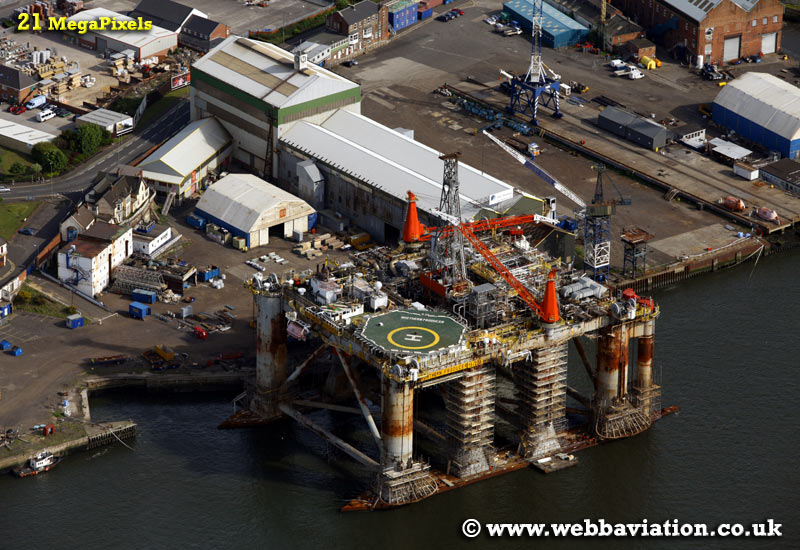 Northern Producer oil rig at McNulty Offshore Construction Yard South Shields   aerial photograph
