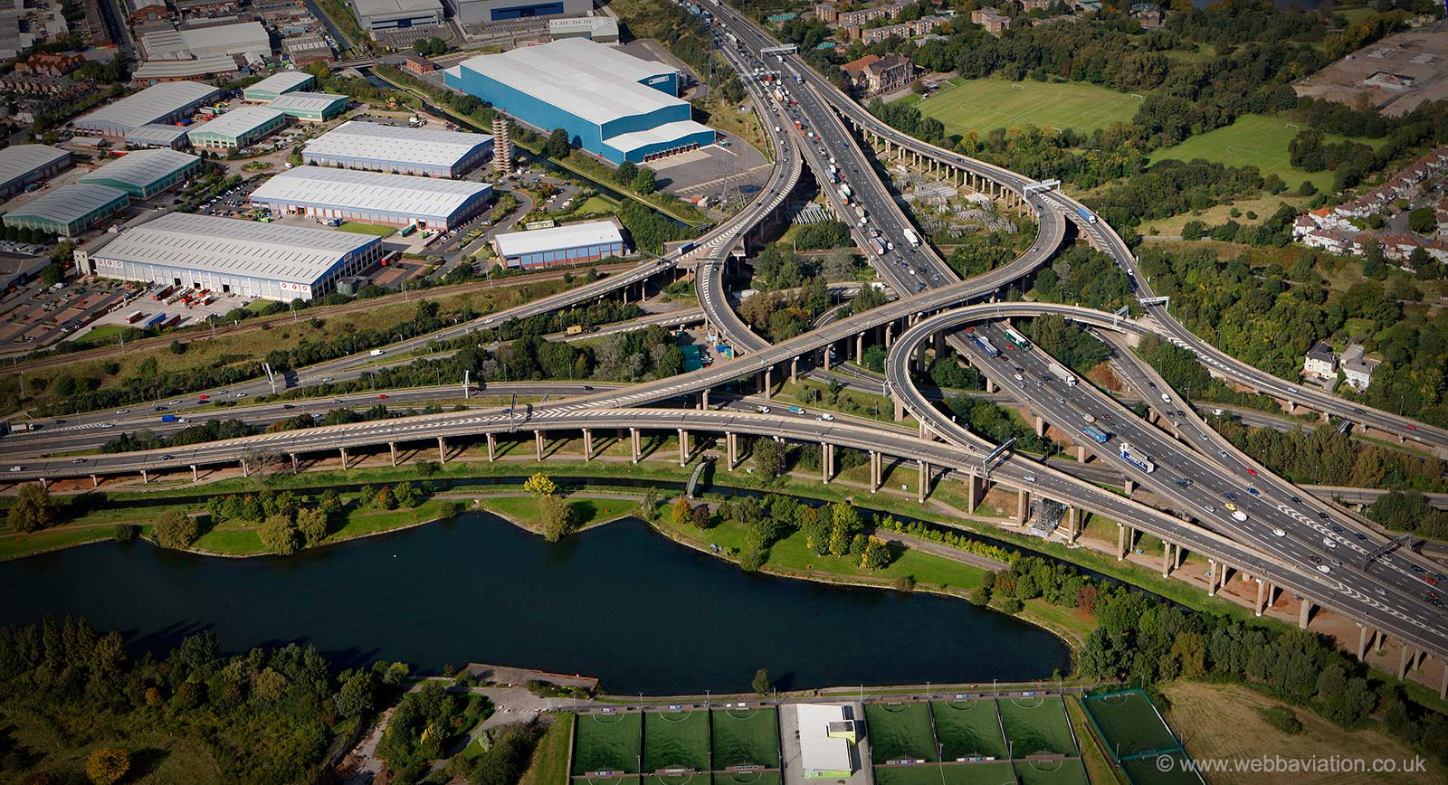 Spaghetti Junction Birmingham  from the air