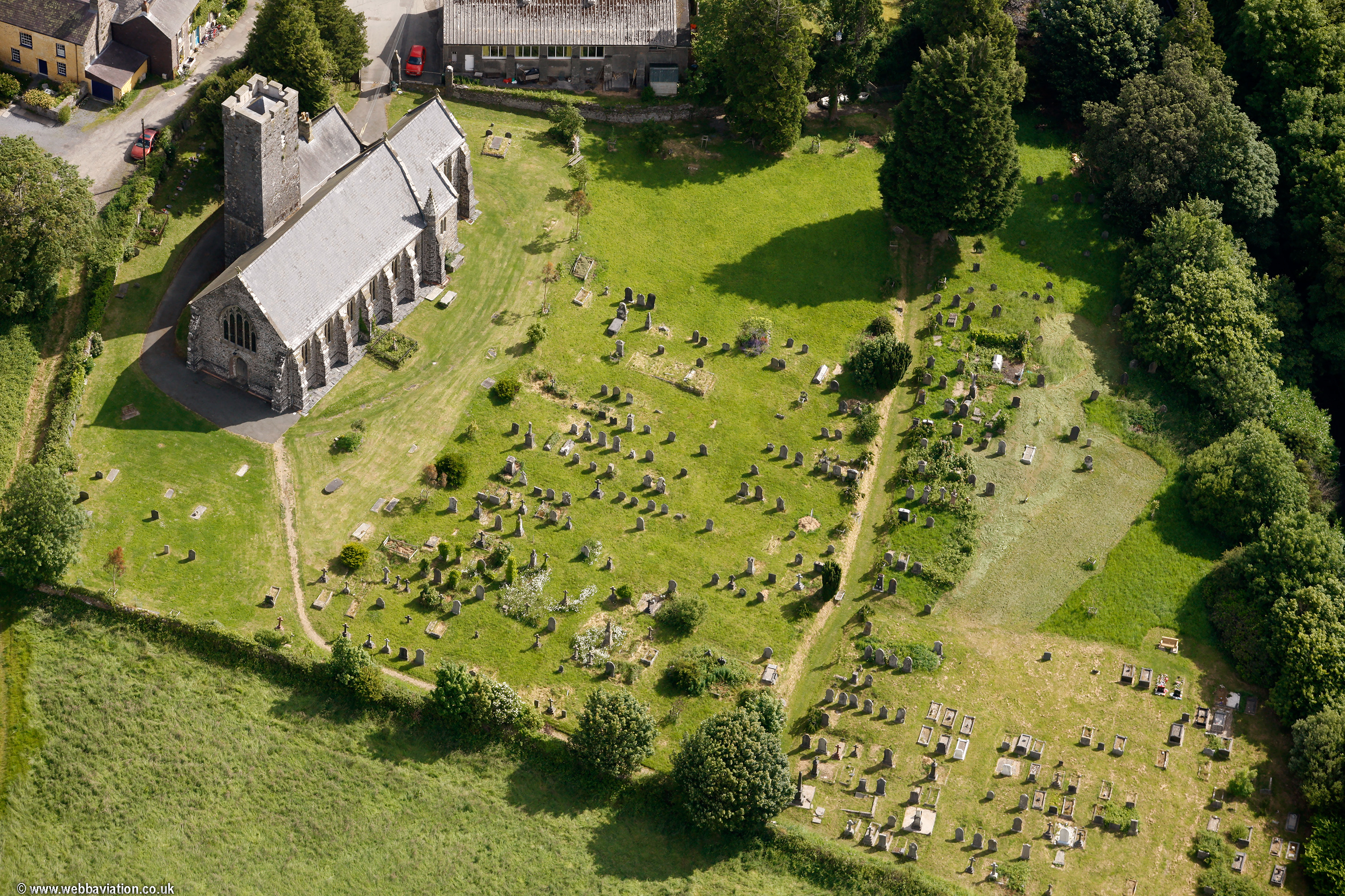 Narberth church Pembrokeshire Wales aerial photograph