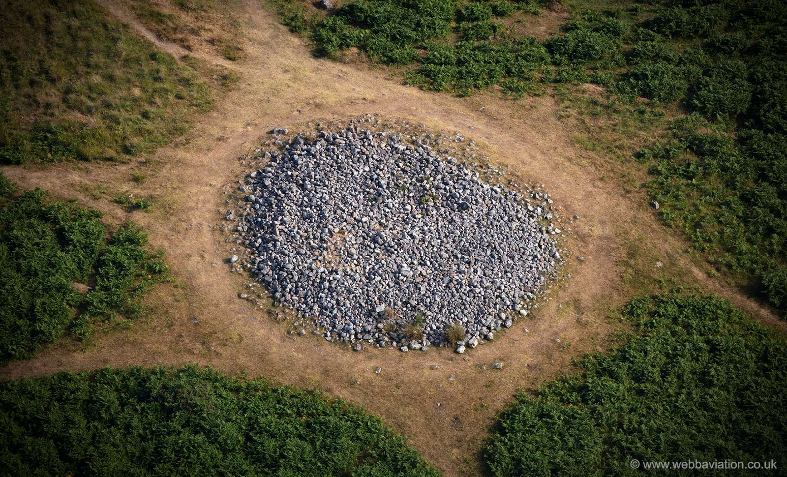 Cefn Bryn Great Cairn from the air