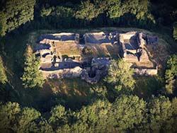 aerial photograph of Dolforwyn Castle