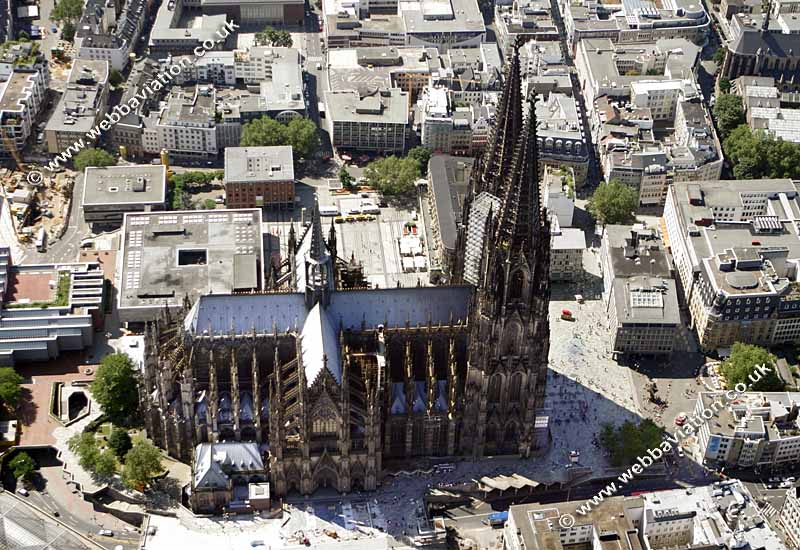 aerial photographs of Cologne Cathedral Gothic Architecture Flying Buttress