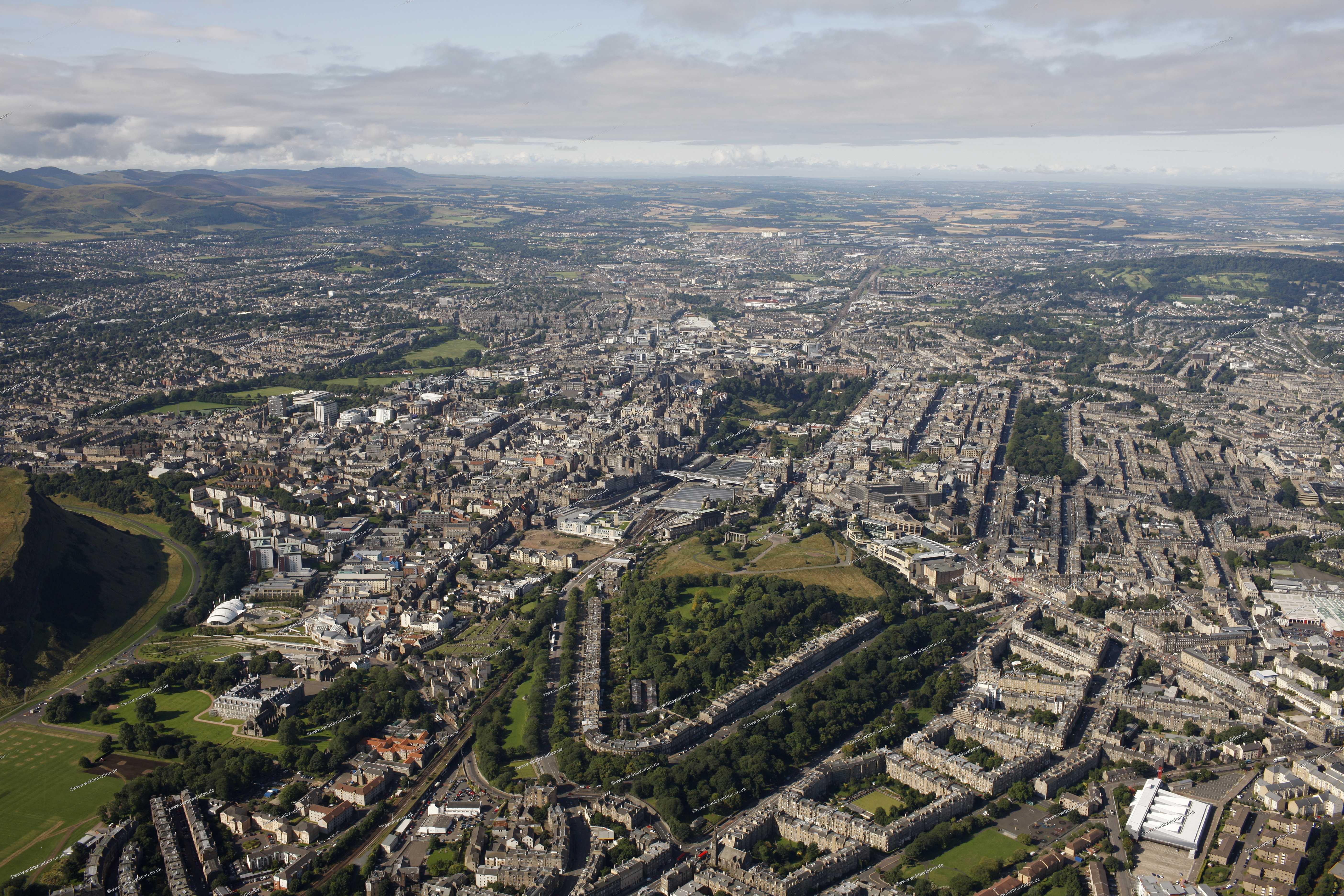 aerial photographs of Edinburgh Scotland