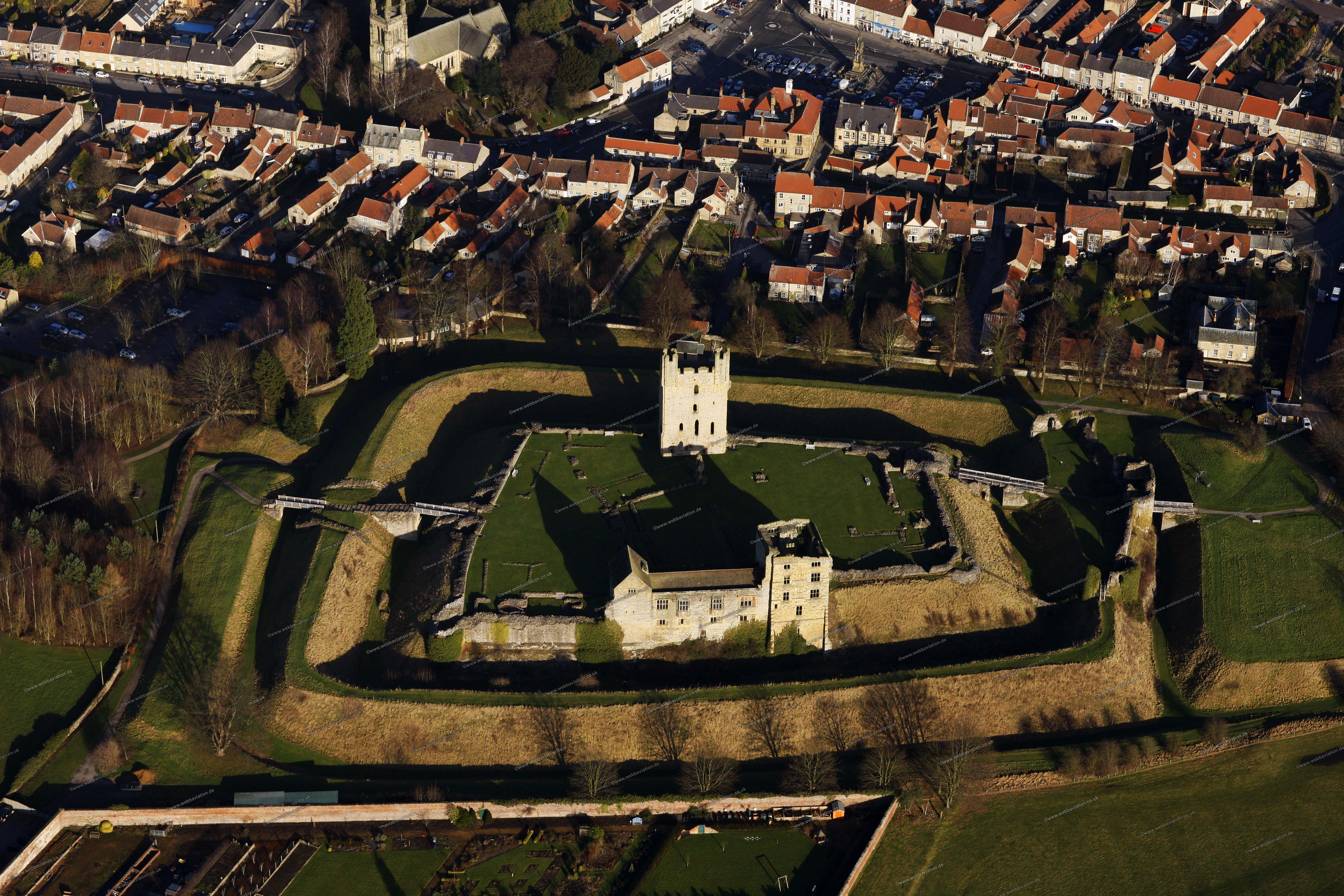 Aerial Photographs Of Helmsley Castle In Yorkshire Uk